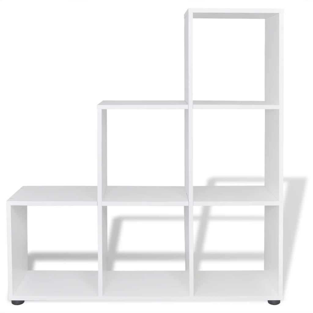 Estanter a blanca para libros en forma de escalera 107 cm - Estanteria pared blanca ...