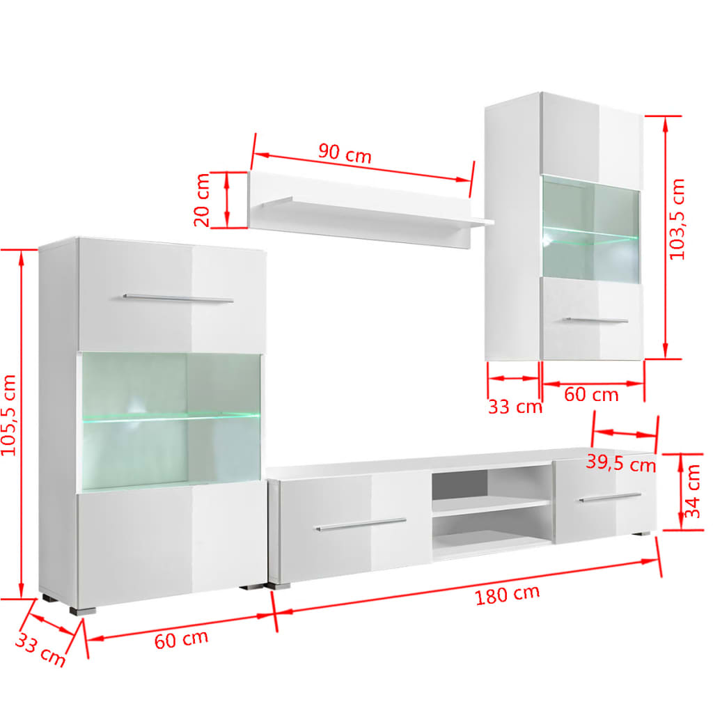 acheter meuble tv vitrine murale avec lumi re led 4 pi ces blanc pas cher. Black Bedroom Furniture Sets. Home Design Ideas