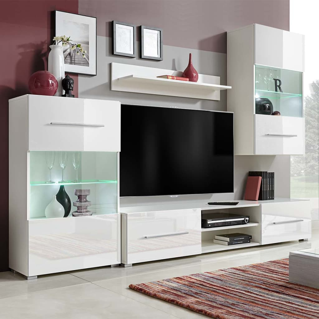 la boutique en ligne meuble tv vitrine murale avec lumi re led 4 pi ces blanc. Black Bedroom Furniture Sets. Home Design Ideas