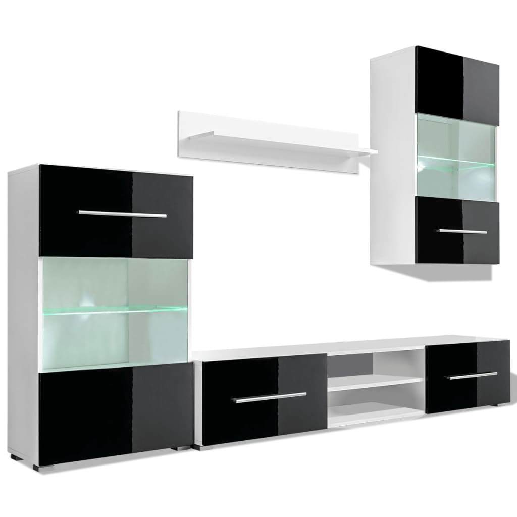 der hochglanz wohnwand anbauwand tv m bel led. Black Bedroom Furniture Sets. Home Design Ideas