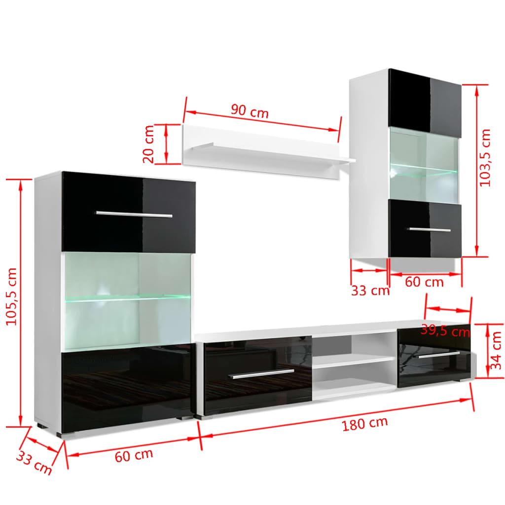 acheter meuble tv vitrine murale avec lumi re led 4 pi ces noir pas cher. Black Bedroom Furniture Sets. Home Design Ideas