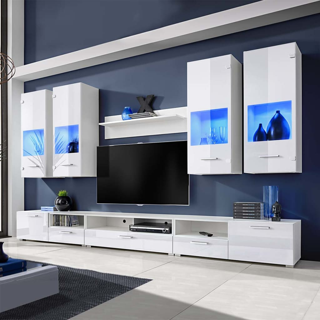 acheter meuble tv vitrine murale blanc avec lumi re led bleu 8 pi ces pas cher. Black Bedroom Furniture Sets. Home Design Ideas