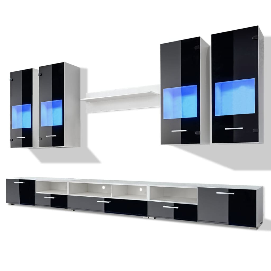 la boutique en ligne meuble tv vitrine murale noir avec lumi re led bleu 8 pi ces. Black Bedroom Furniture Sets. Home Design Ideas