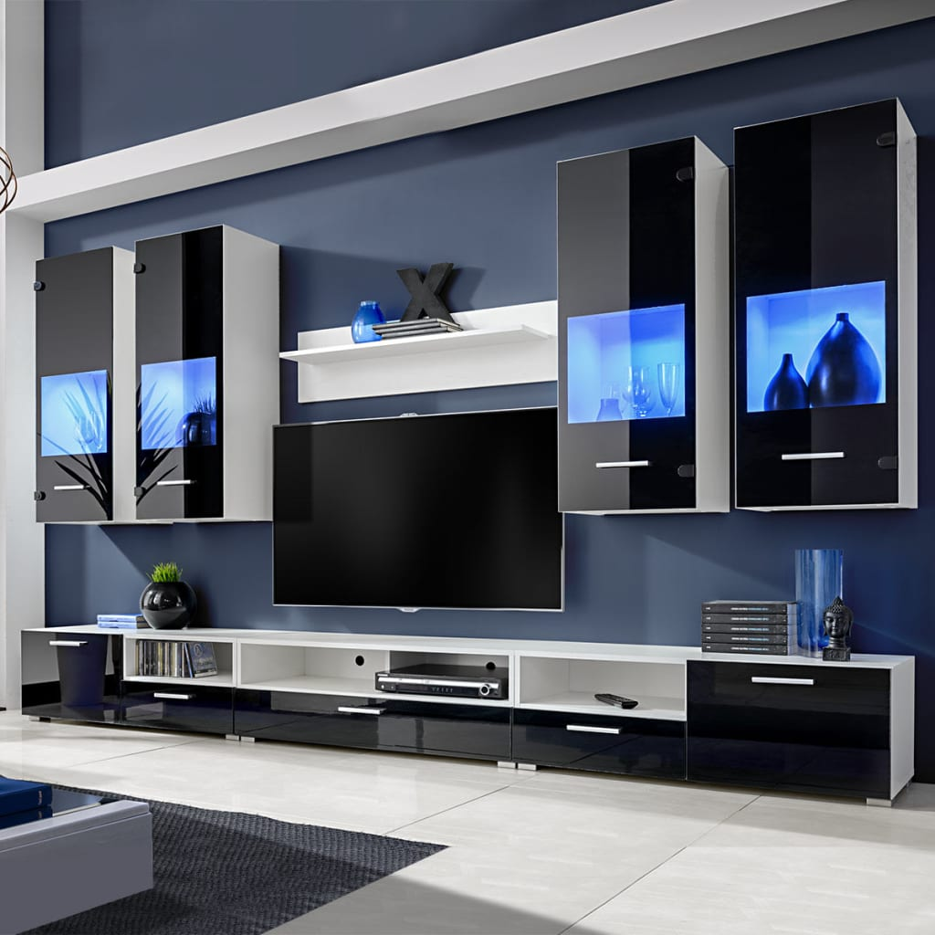 hochglanz wohnwand anbauwand tv m bel blaue led lichter. Black Bedroom Furniture Sets. Home Design Ideas