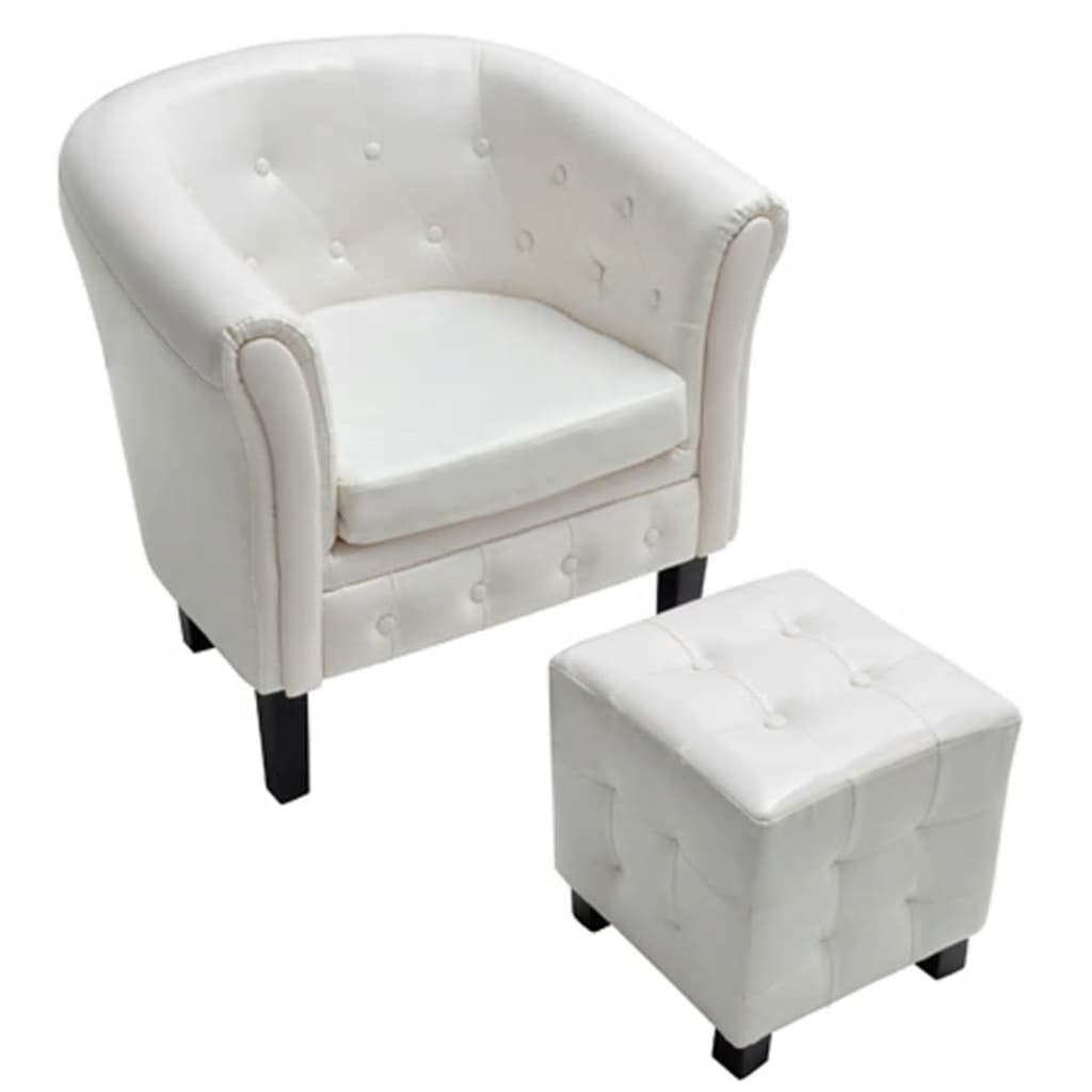 Artificial leather tub chair armchair with footrest white for Arm chair white