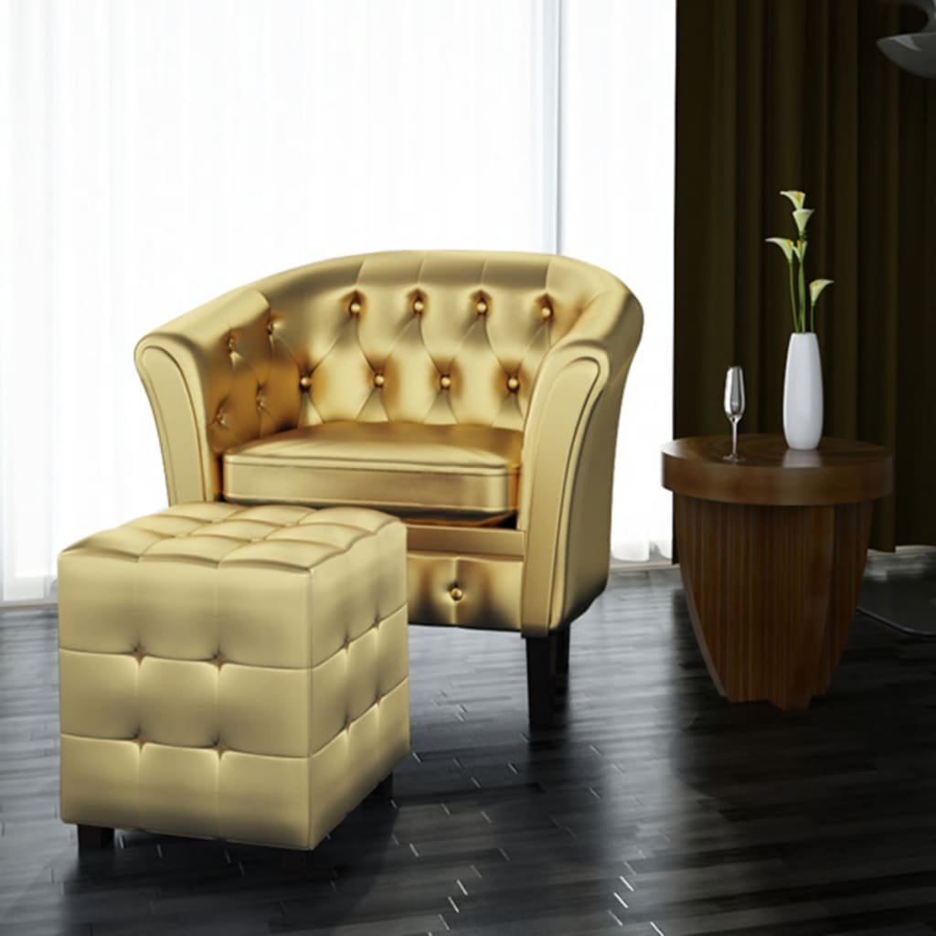 Artificial Leather Tufted Tub Barrel Club Chair Armchair