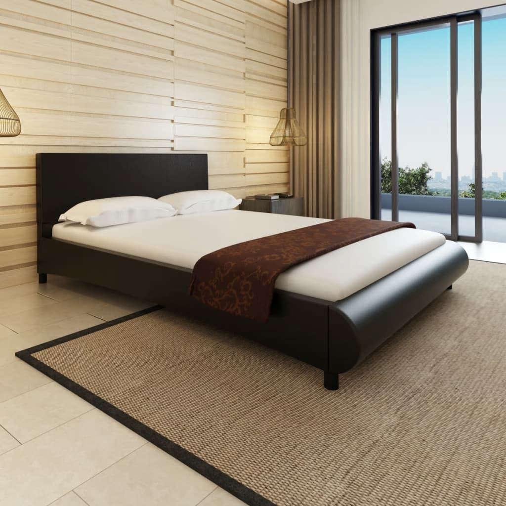 4FT6 Double/135x190 cm Artificial Leather Black Bed Frame Bedroom ...