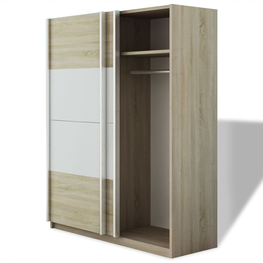 vidaxl kleiderschrank mit 2 schiebet ren hochglanz wei 150 cm g nstig kaufen. Black Bedroom Furniture Sets. Home Design Ideas