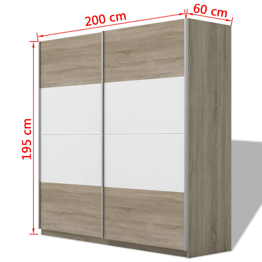 vidaxl kleiderschrank mit 2 schiebet ren hochglanz wei 200 cm g nstig kaufen. Black Bedroom Furniture Sets. Home Design Ideas
