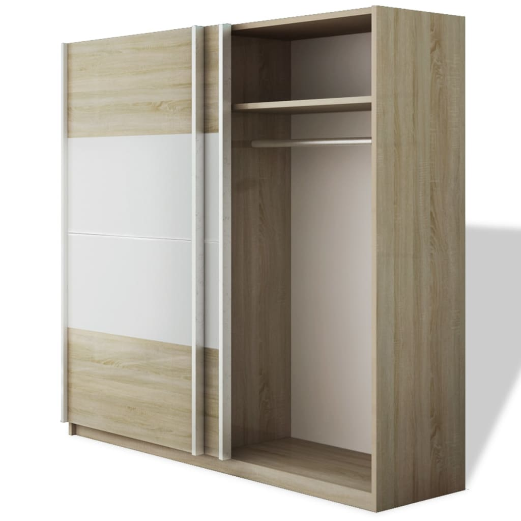 acheter vidaxl armoire avec 2 portes coulissantes blanc brillant 200 cm pas cher. Black Bedroom Furniture Sets. Home Design Ideas