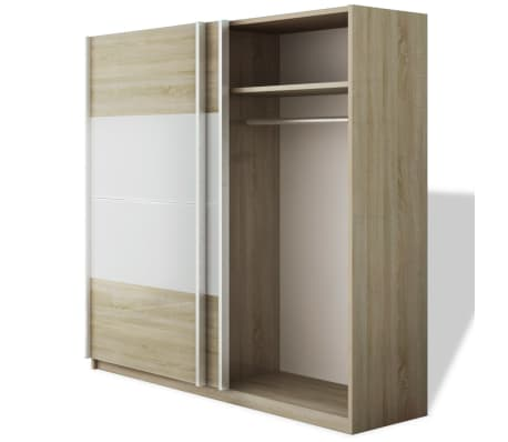 vidaxl kleiderschrank mit 2 schiebet ren hochglanz wei 200 cm im vidaxl trendshop. Black Bedroom Furniture Sets. Home Design Ideas