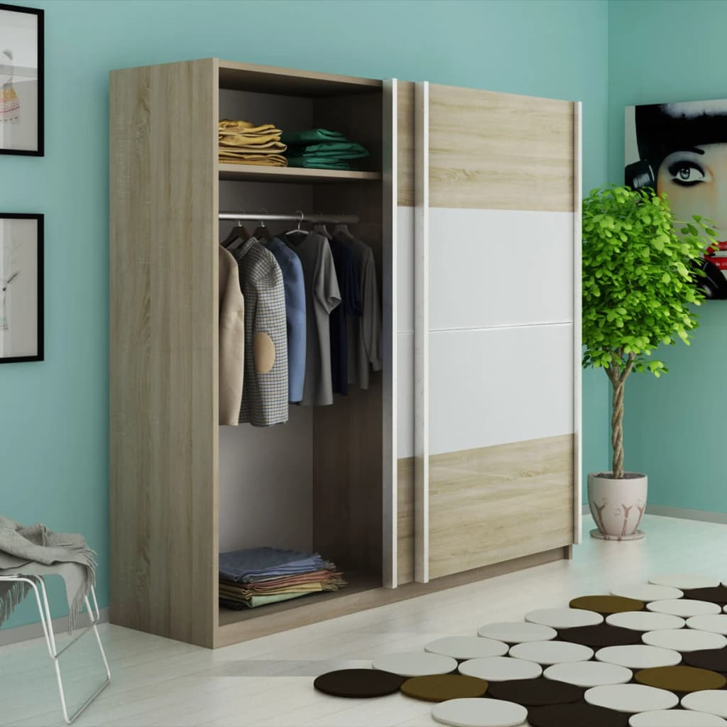 der vidaxl kleiderschrank mit 2 schiebet ren hochglanz. Black Bedroom Furniture Sets. Home Design Ideas