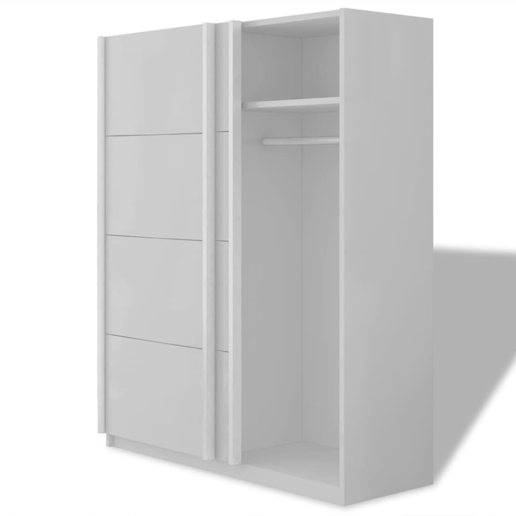 der vidaxl kleiderschrank mit 2 schiebet ren mattwei 150 cm online shop. Black Bedroom Furniture Sets. Home Design Ideas