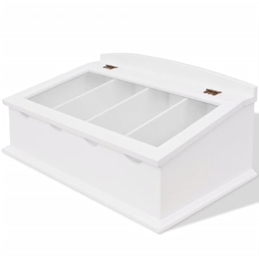 Vidaxl cutlery tray mdf white baroque style for Cutlery storage with lid