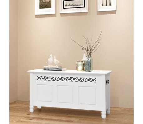 acheter vidaxl banc de rangement en style baroque pfdm blanc pas cher. Black Bedroom Furniture Sets. Home Design Ideas