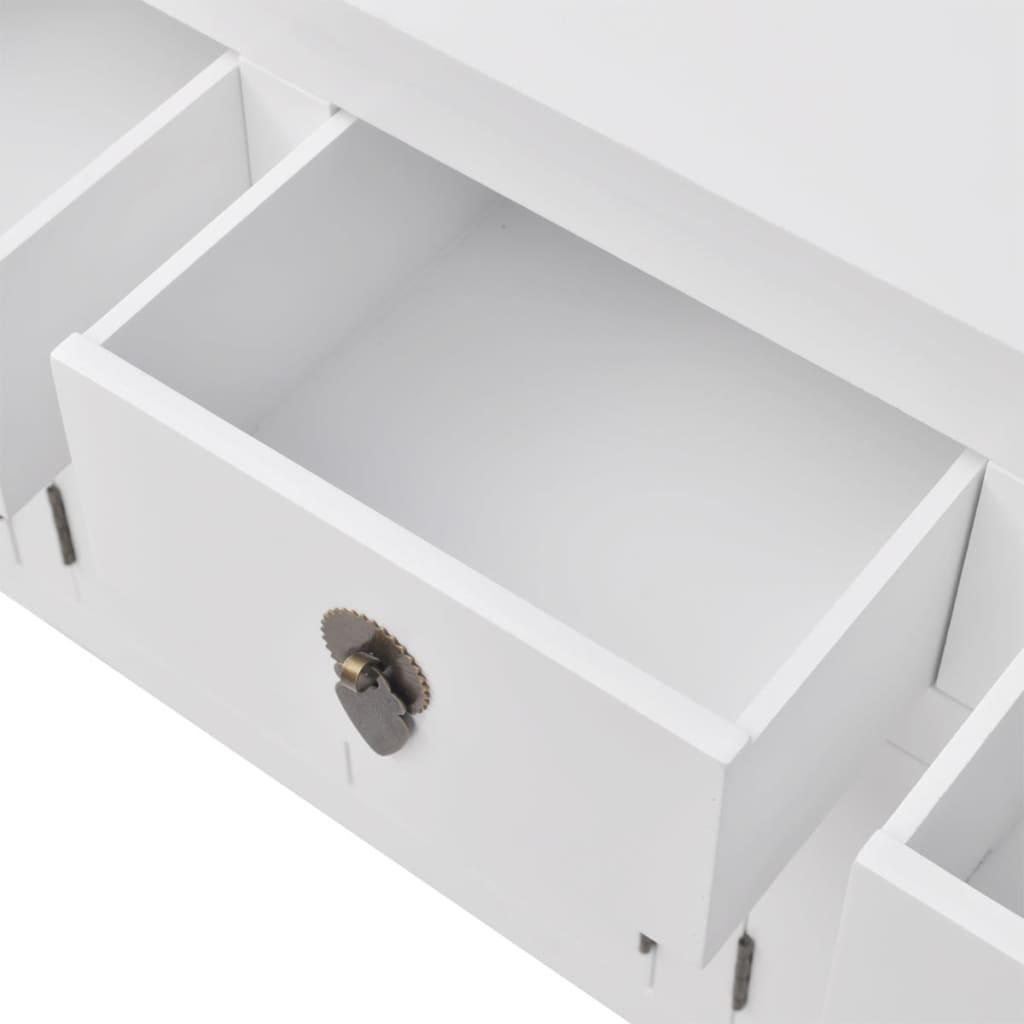 vidaXL-Buffet-en-style-chinois-en-bois-massif-Blanc-Console-Meuble-de-rangement miniature 5