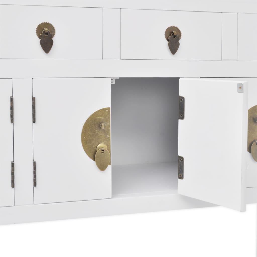 vidaXL-Buffet-en-style-chinois-en-bois-massif-Blanc-Console-Meuble-de-rangement miniature 6