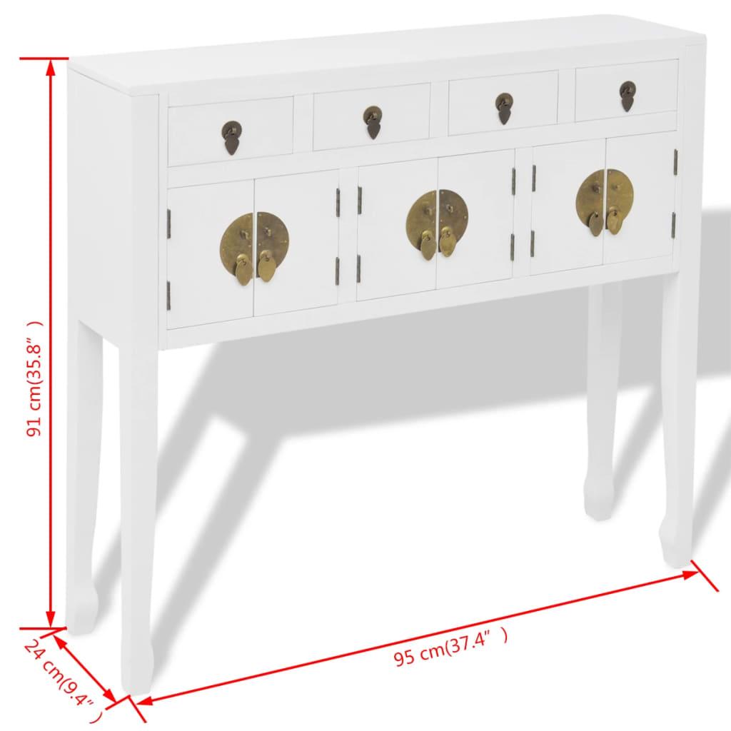 vidaXL-Buffet-en-style-chinois-en-bois-massif-Blanc-Console-Meuble-de-rangement miniature 8