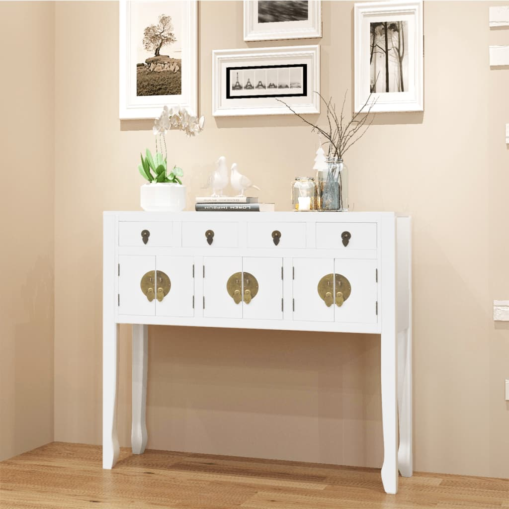 acheter vidaxl buffet en style chinois en bois massif blanc pas cher. Black Bedroom Furniture Sets. Home Design Ideas