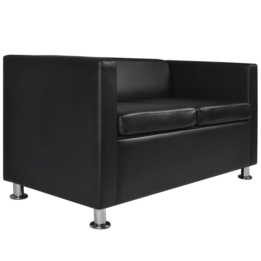 Artificial Leather 2-Seater Sofa Black