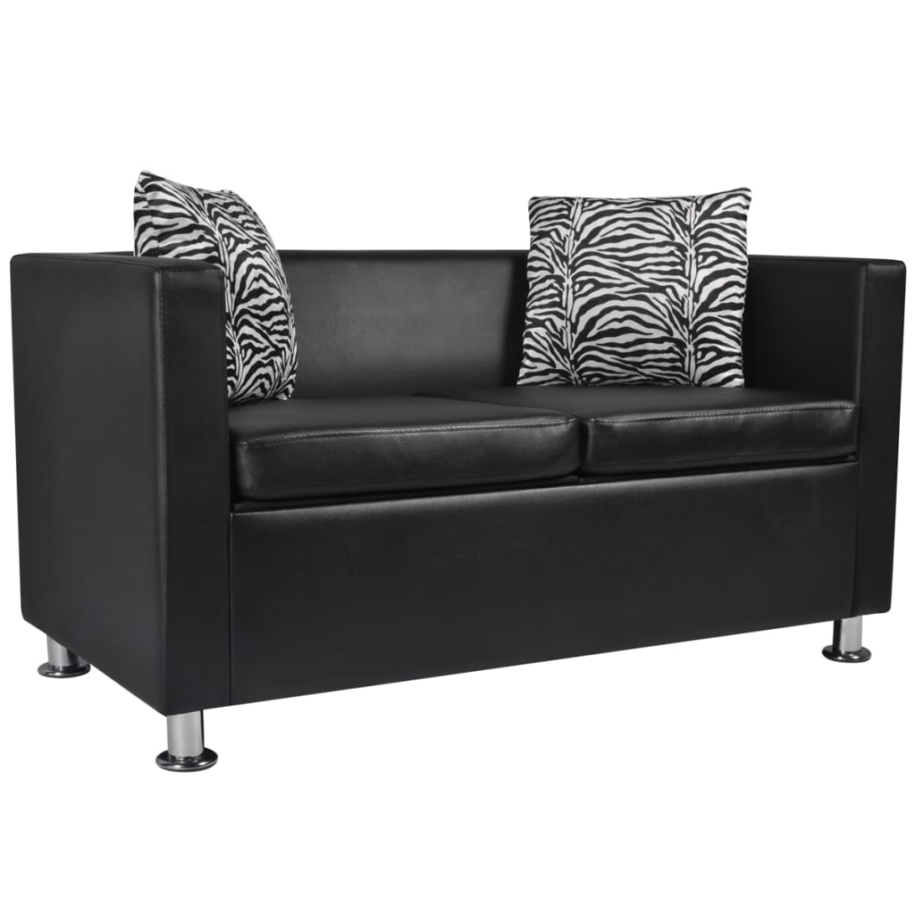 artificial leather 2 seater sofa black