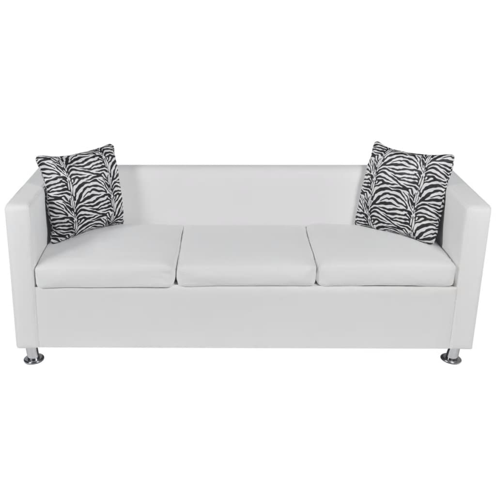 ... Artificial Leather 3 Seater Sofa White[3/5] ...