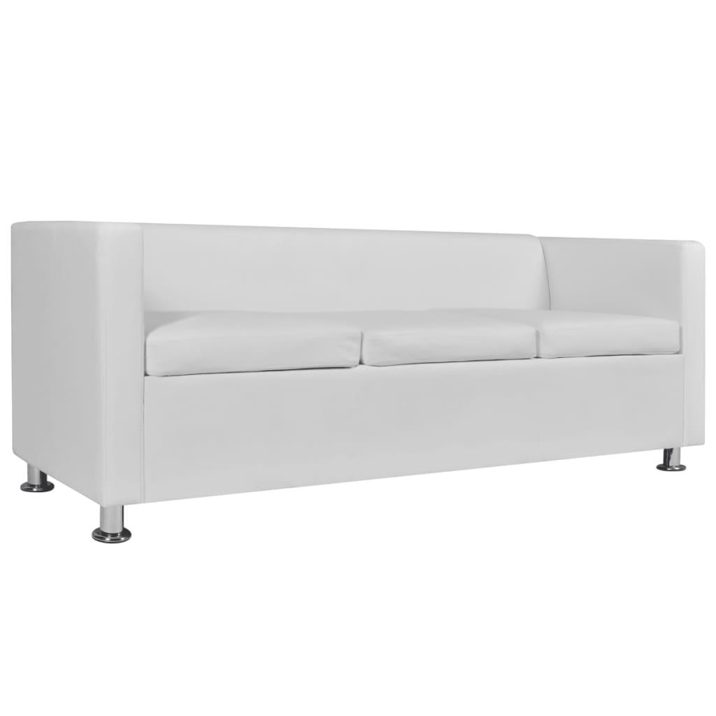 Vienna Leather Three Seater Sofa White: Artificial Leather 3-Seater Sofa White