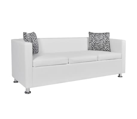 Modern White Artificial Leather Sofa 3-Seater Living Room Furniture w/ 2 Pillows 7