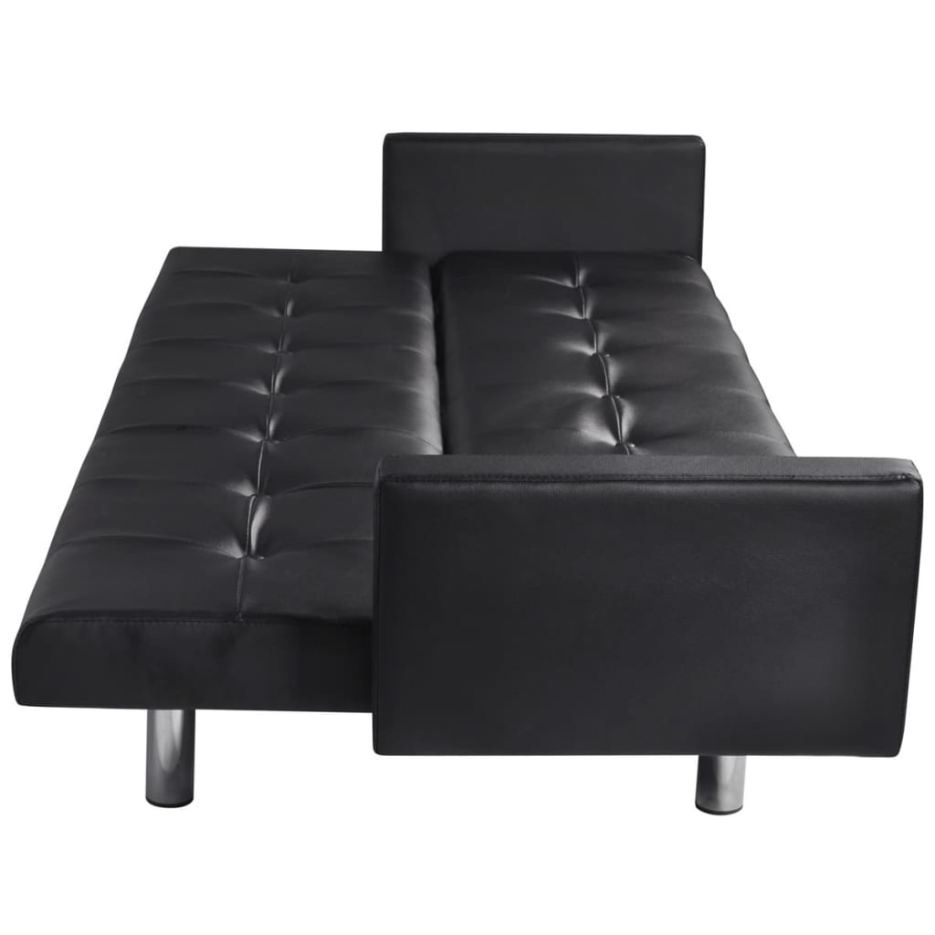 Artificial Leather Sofa Bed With Armrests Black