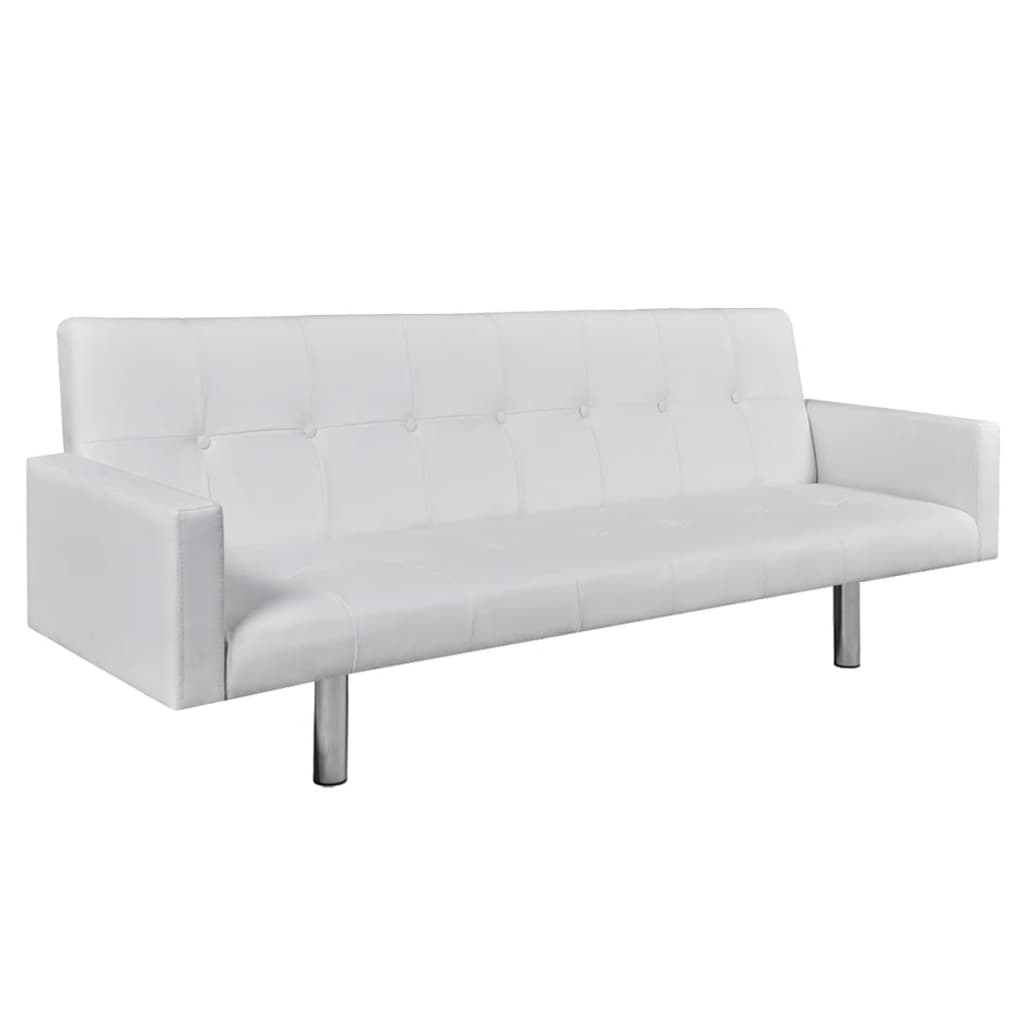 Artificial Leather Sofa Bed with Armrests White