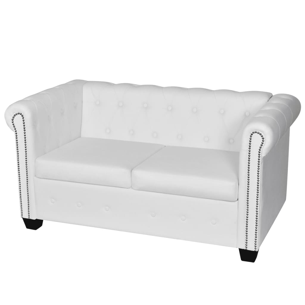 Artificial Leather Chesterfield 2 Seater Sofa White