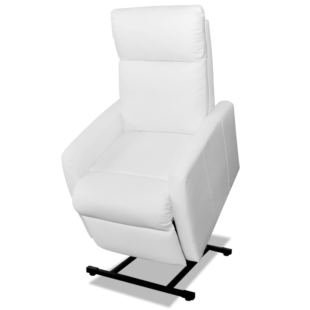 2 Position Electric TV Recliner Lift Chair White Artificial Leather