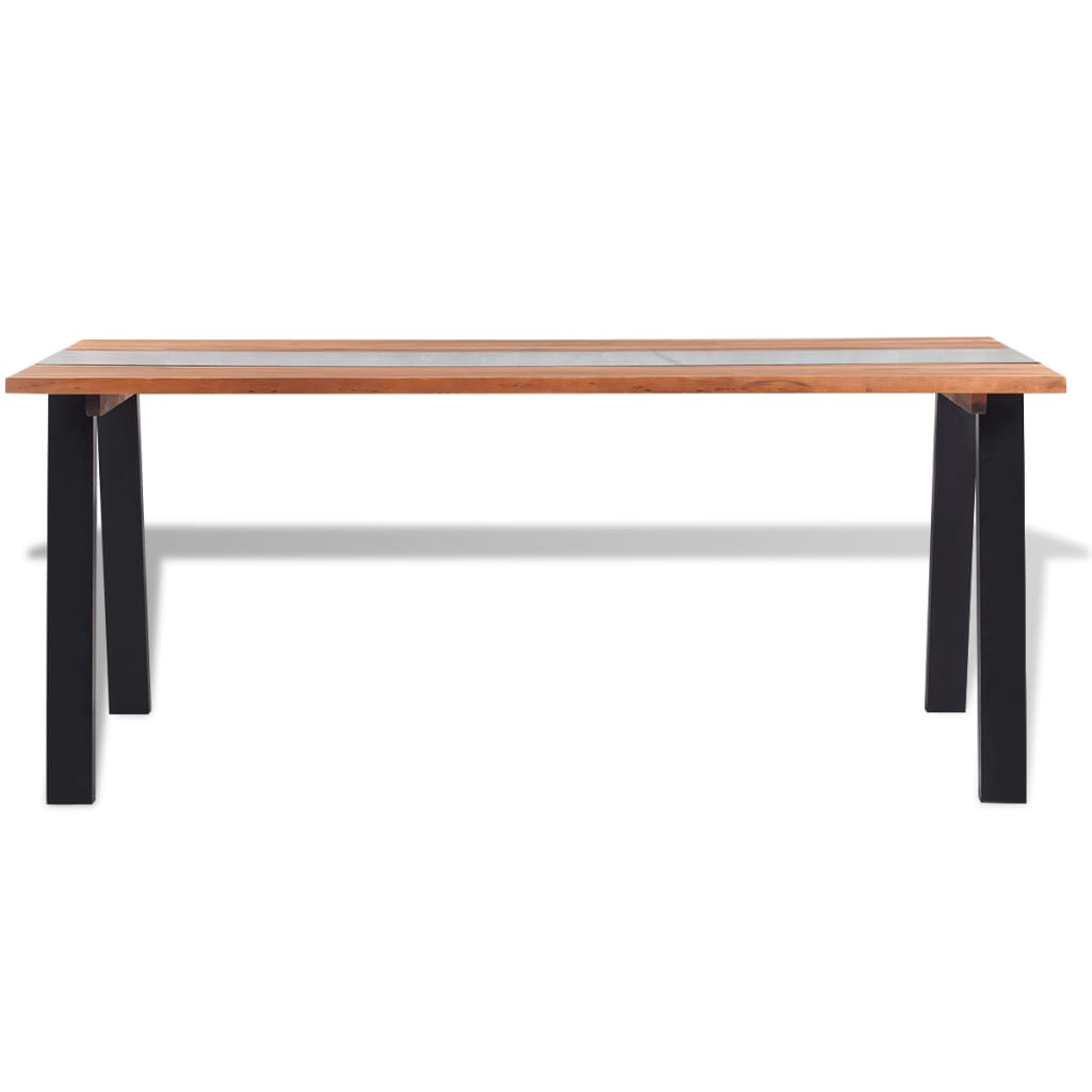 Vidaxl dining table solid acacia wood and glass 180x90x75 for Glass and wood dining table