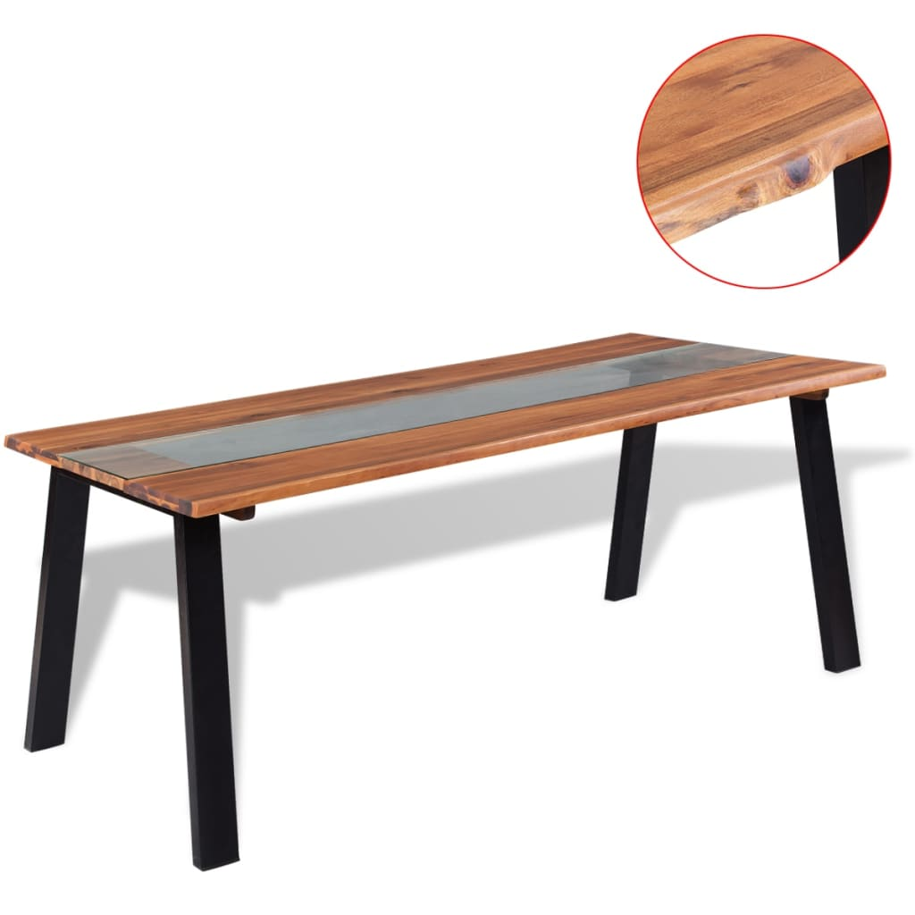 Vidaxl dining table solid acacia wood and glass 180x90x75 for Table acacia