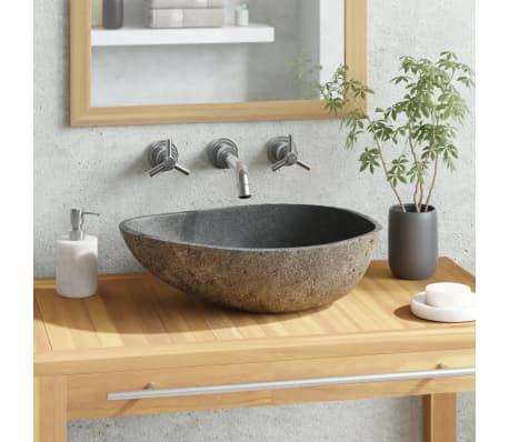 vidaXL Umivalnik iz Rečnega Kamna Ovalen 40 cm