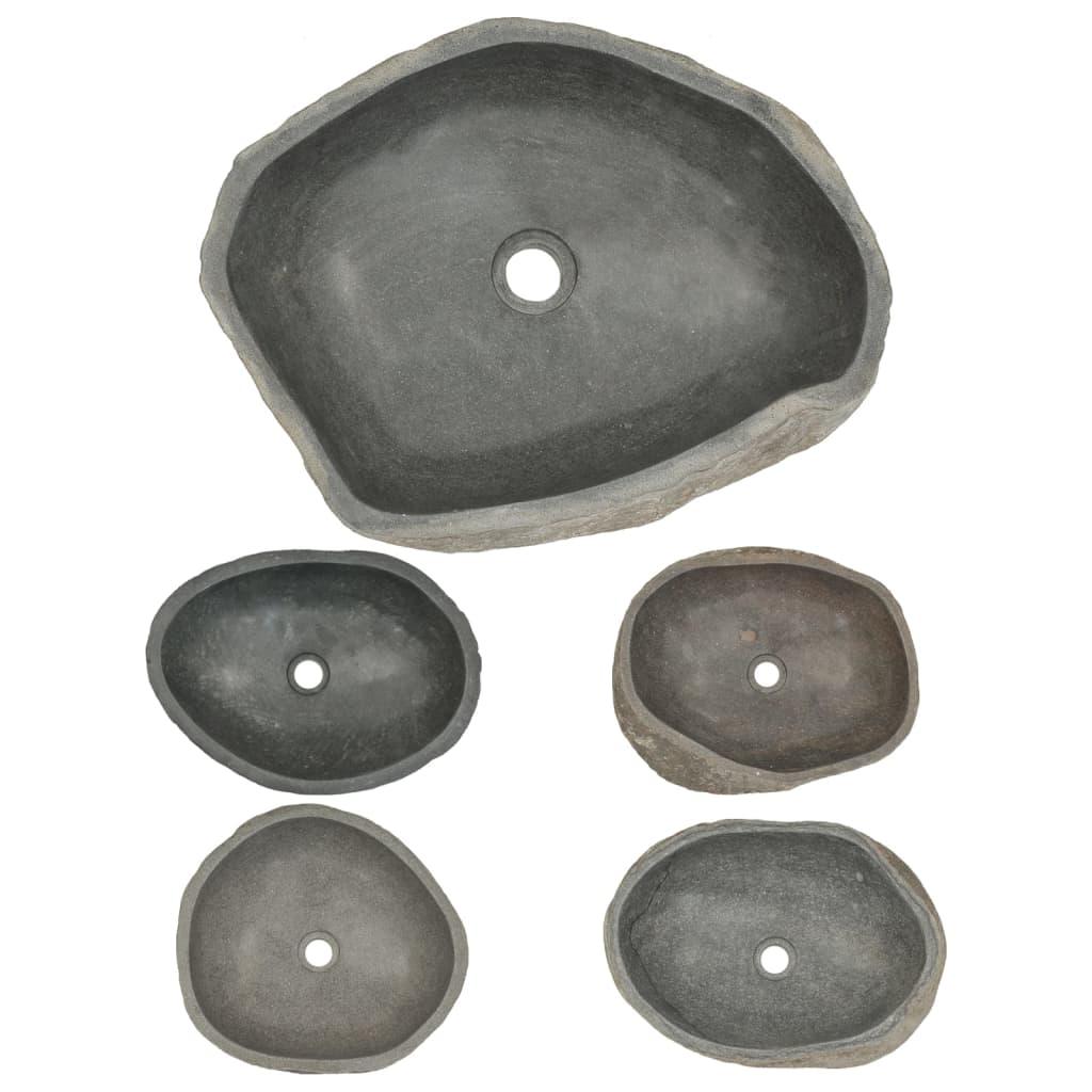 Vidaxl waschbecken flussstein oval 50 cm g nstig kaufen for Flussstein waschbecken