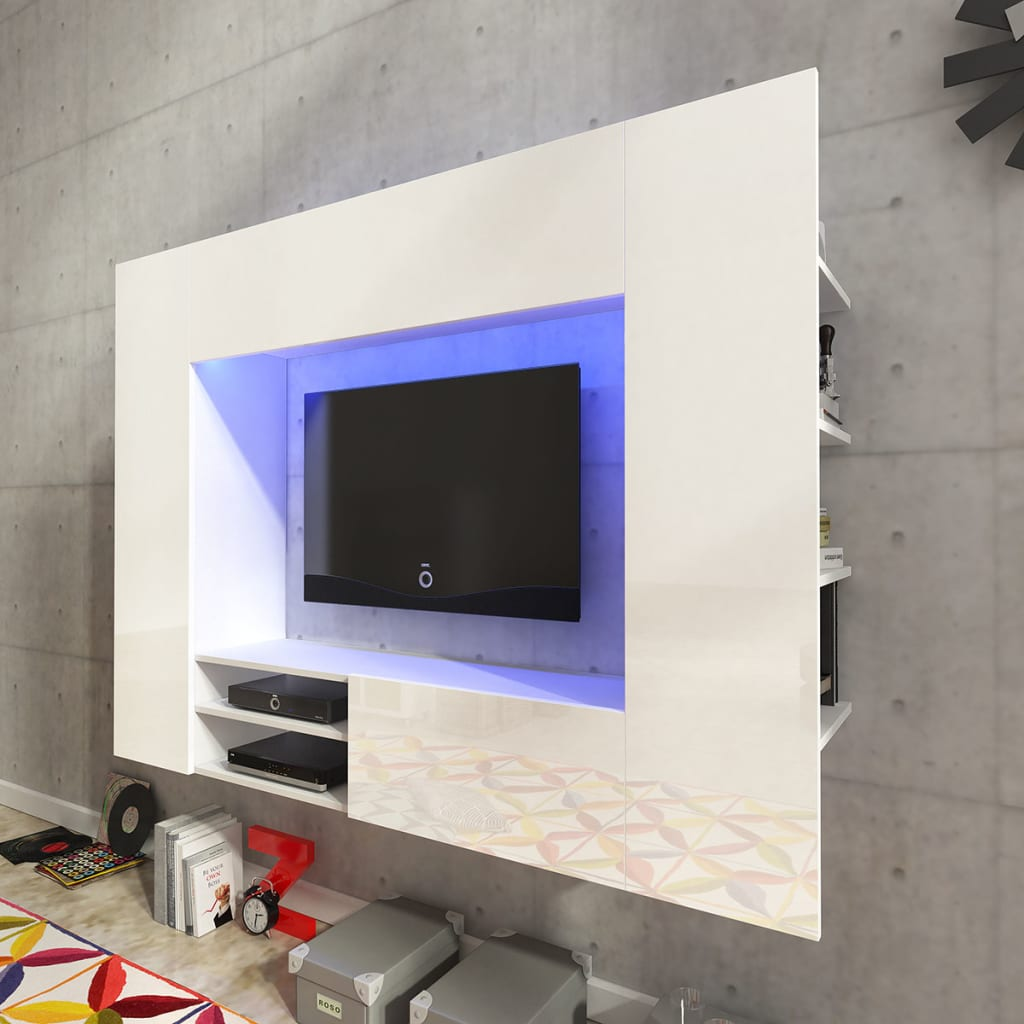 acheter unit murale de 169 2 cm en blanc brillant pour tv. Black Bedroom Furniture Sets. Home Design Ideas