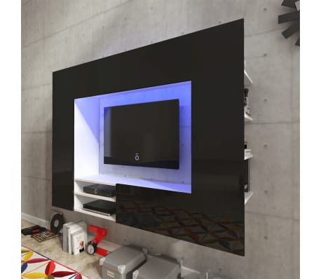 der hochglanz mediawand wohnwand led tv wand schwarz 169 2 cm online shop. Black Bedroom Furniture Sets. Home Design Ideas
