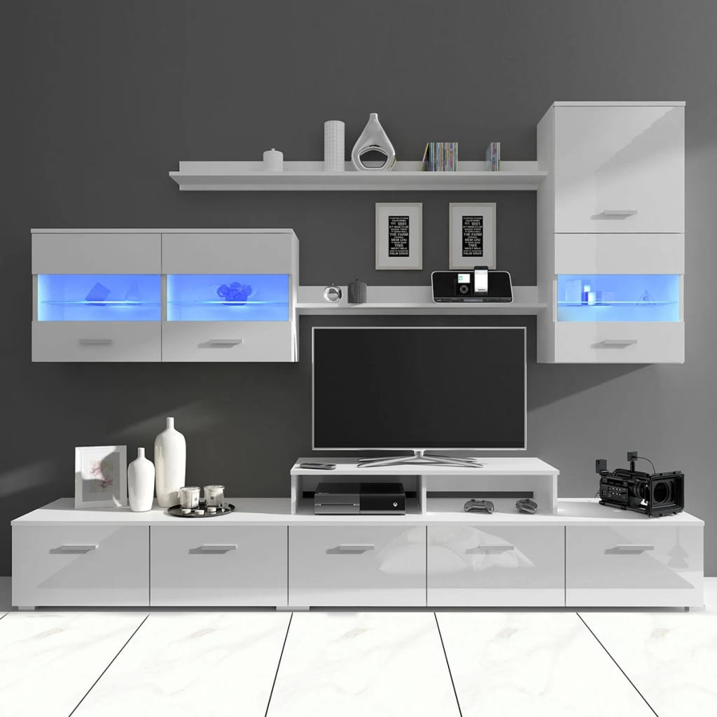 7 tlg hochglanz wohnwand schrankwand tv schrank led licht wei 250cm g nstig kaufen. Black Bedroom Furniture Sets. Home Design Ideas