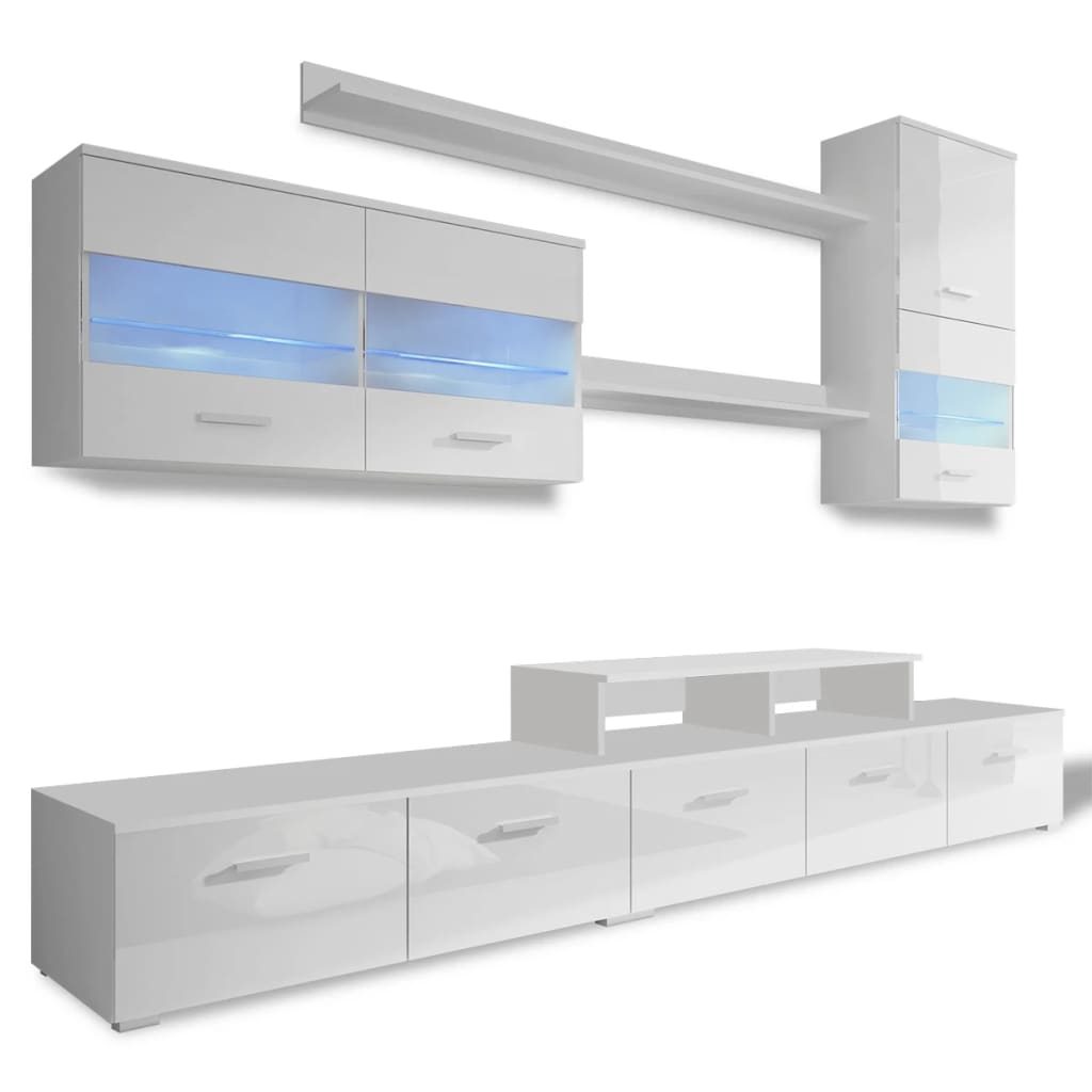 wandkast tv unit led verlichting wit 250 cm 7 st. Black Bedroom Furniture Sets. Home Design Ideas