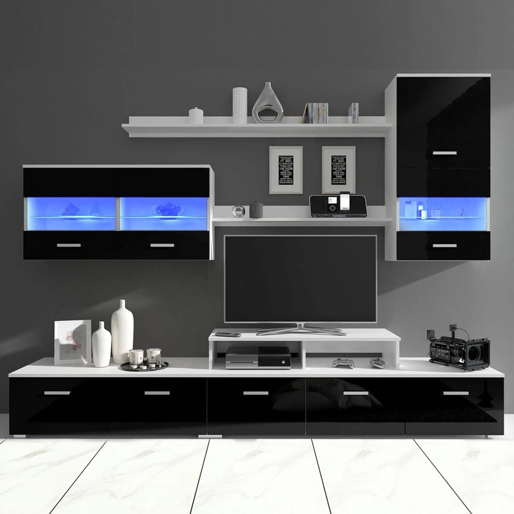 wandkast tv unit led verlichting zwart 250 cm 7 st. Black Bedroom Furniture Sets. Home Design Ideas