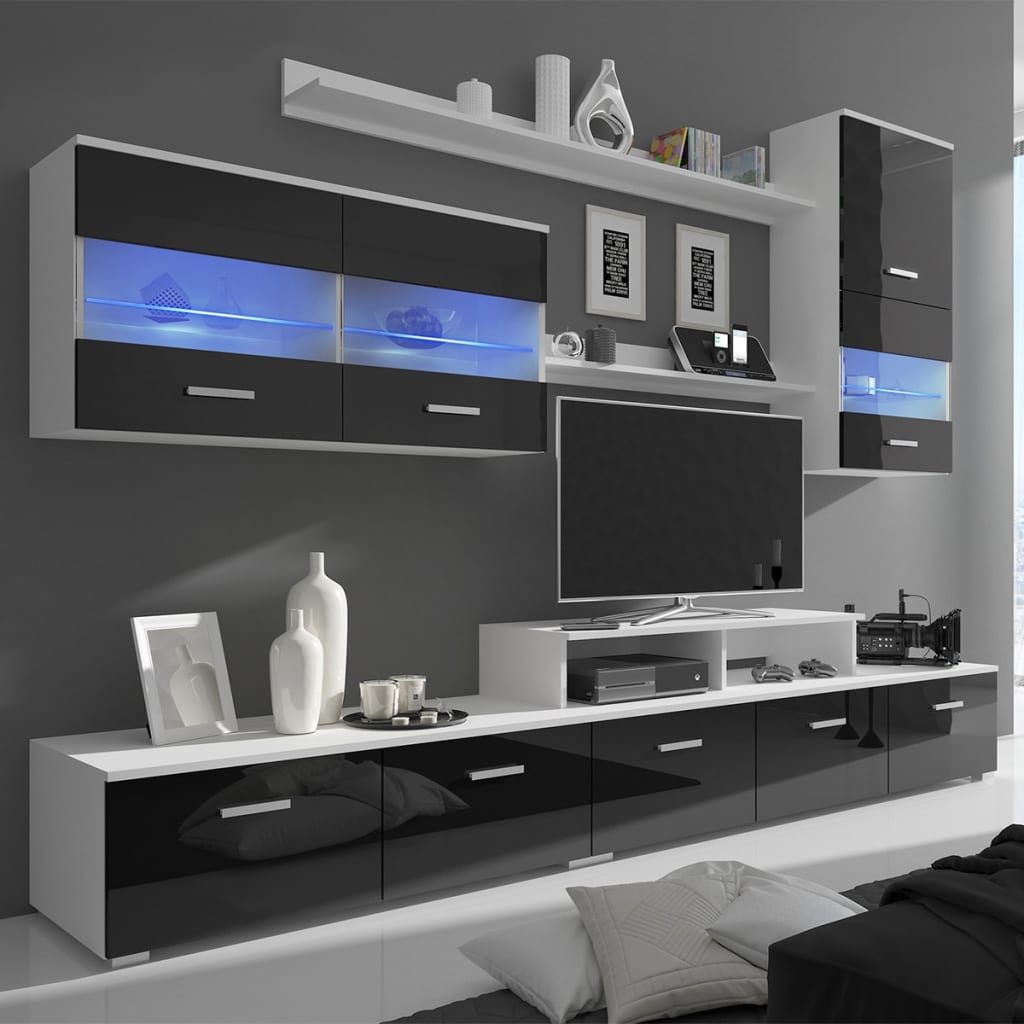 7tlg hochglanz wohnwand mediawand anbauwand led tv wand. Black Bedroom Furniture Sets. Home Design Ideas