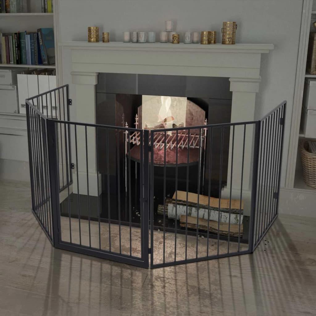 vidaXL acél tűzhely korlát háziállatoknak fekete