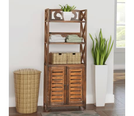 badschrank badezimmerschrank albuquerque holz braun 46x24x117 5 cm g nstig kaufen. Black Bedroom Furniture Sets. Home Design Ideas