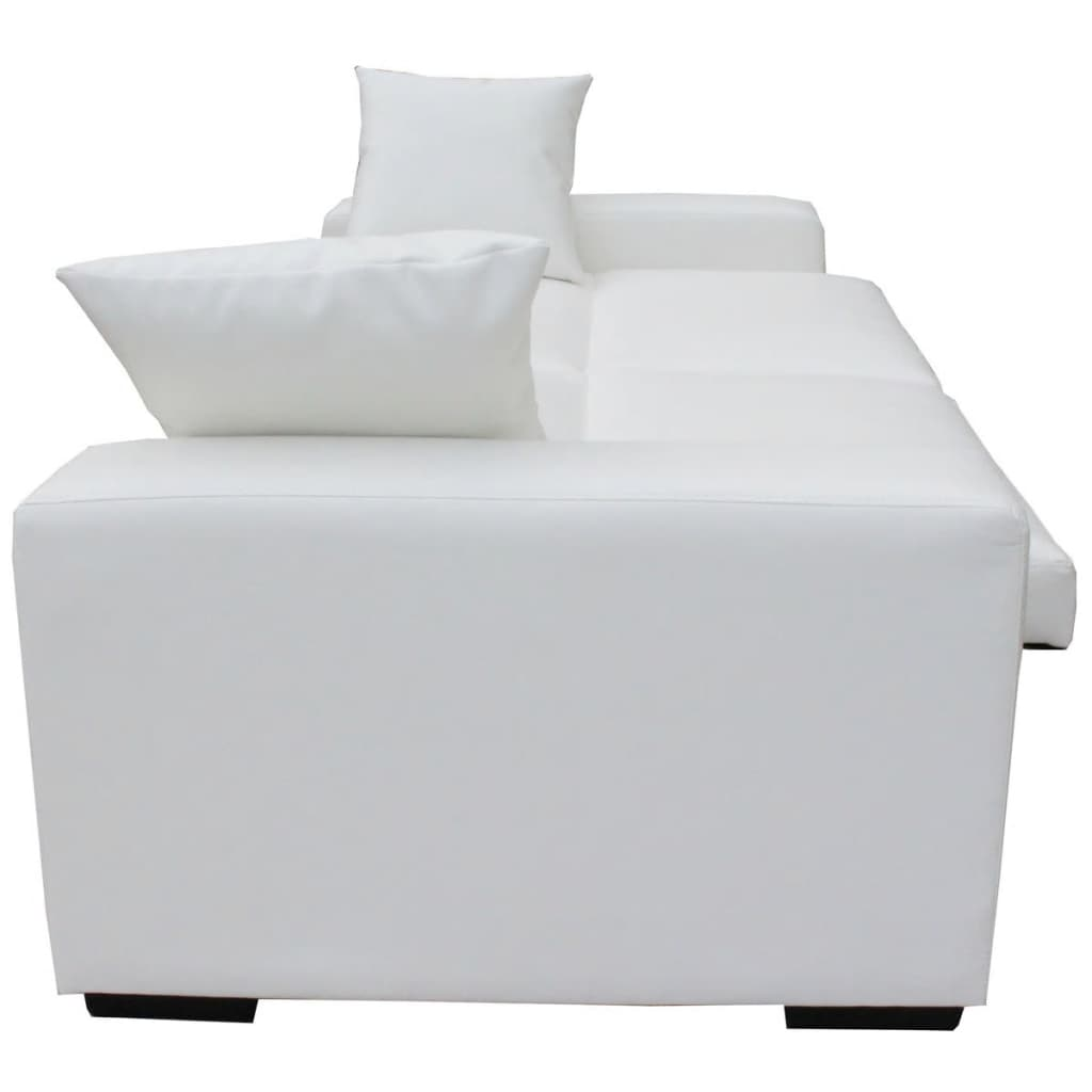 acheter canap lit avec larges accoudoirs en cuir artificiel blanc pas cher. Black Bedroom Furniture Sets. Home Design Ideas