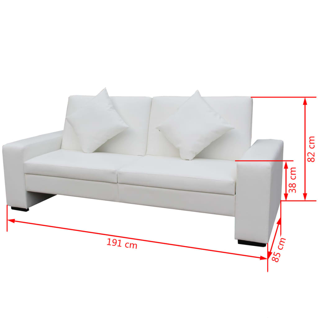 Sofa bed with big armrests white artificial leather www for White divan bed