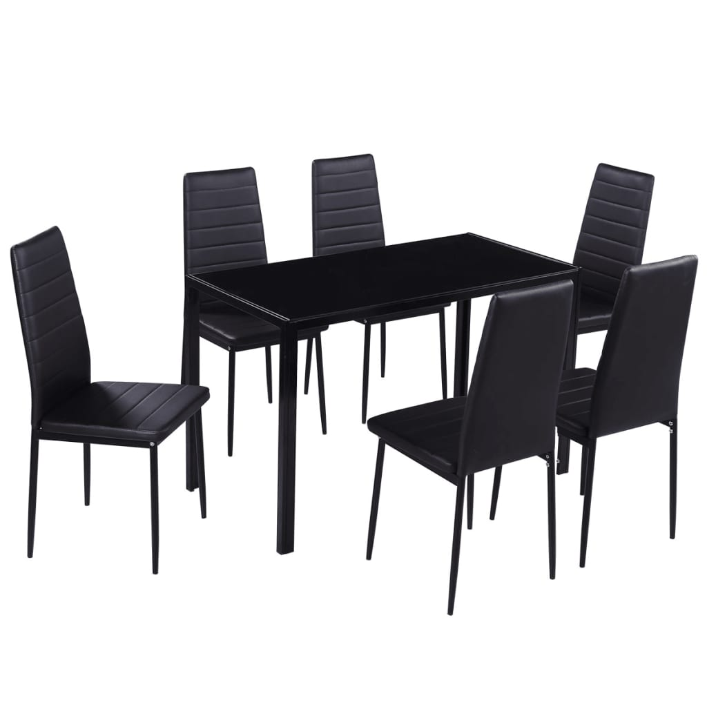 Dining set 6 black chairs 1 table contemporary design for Black dining table set