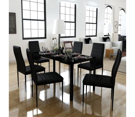 Dining set 6 black chairs 1 table contemporary design for Table a manger plus 6 chaise