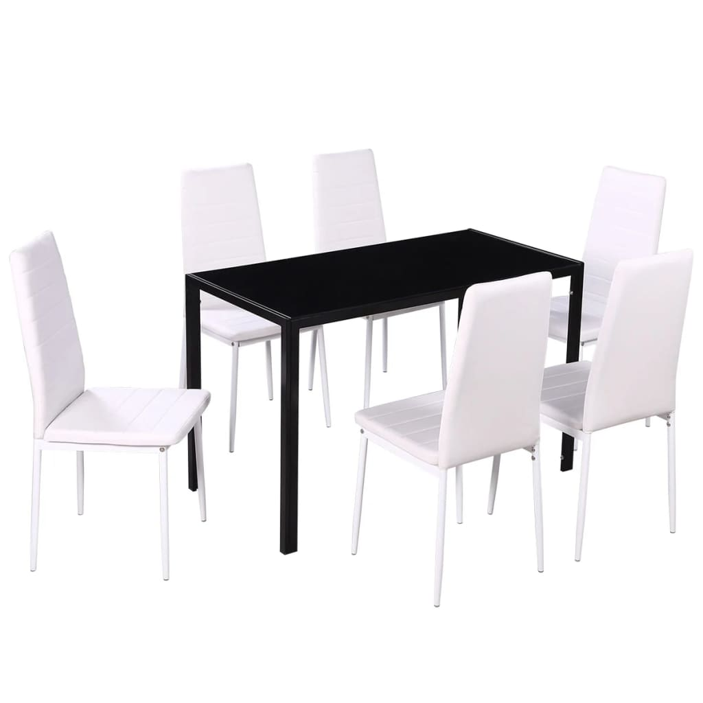 Dining set 6 white chairs 1 table contemporary design for Contemporary white dining chairs