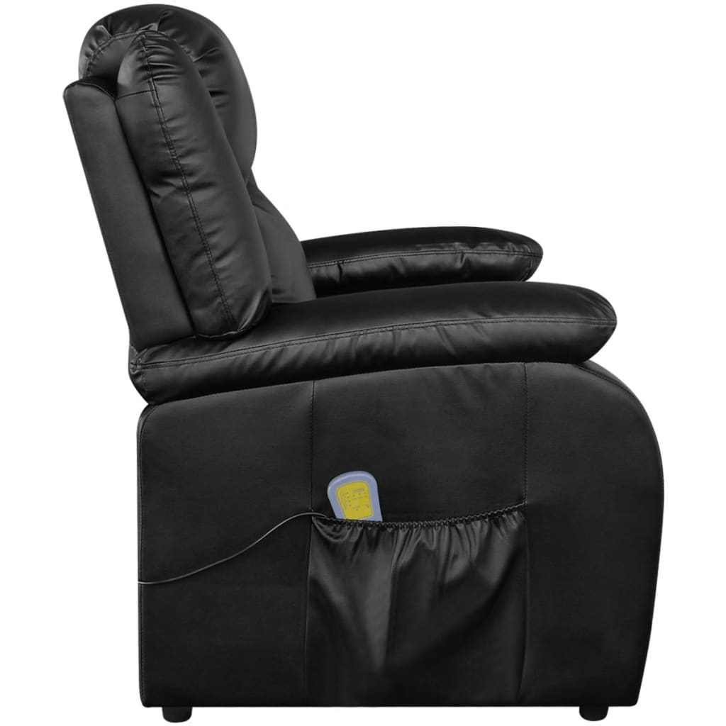 Electric tv recliner massage chair black with a footstool www vidaxl -  Electric Massage Recliner Chair Artificial Leather Black 4 9